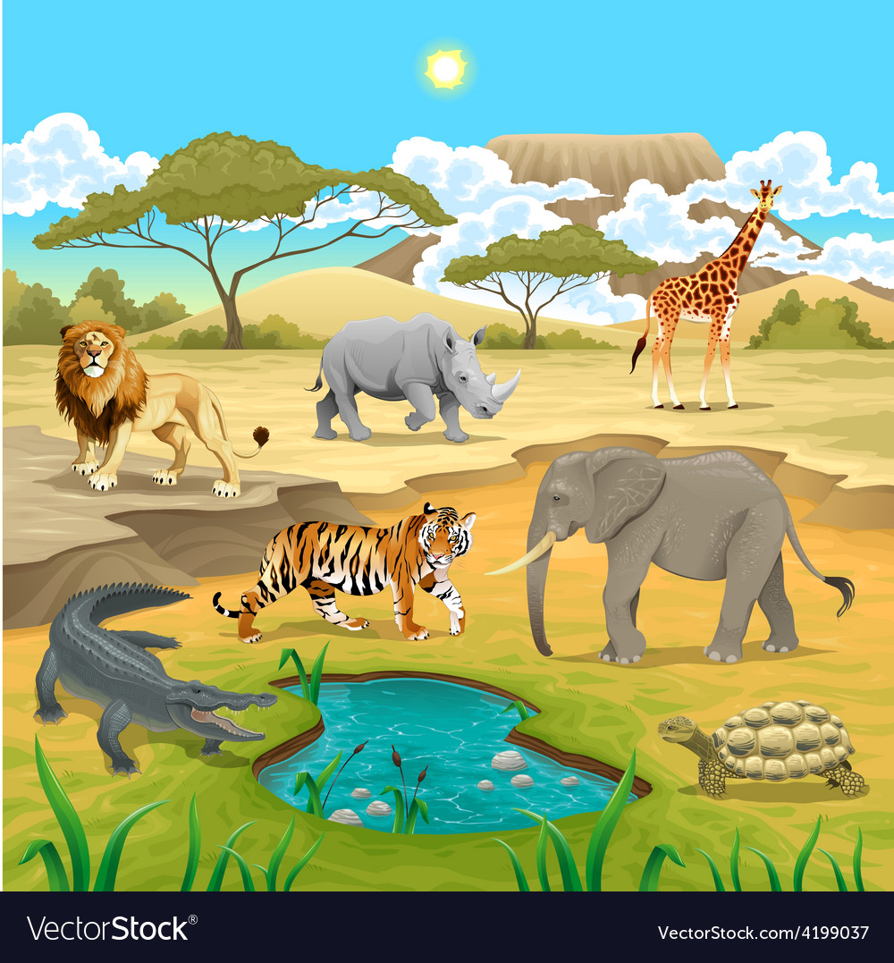 African animals in the nature vector