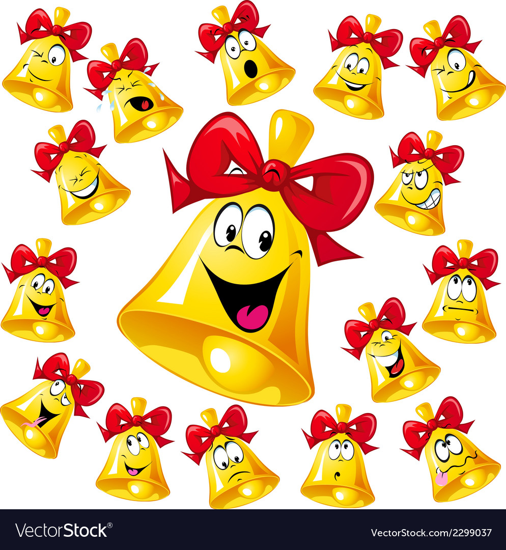 Bell cartoon with red ribbon - many facial vector | Price: 1 Credit (USD $1)