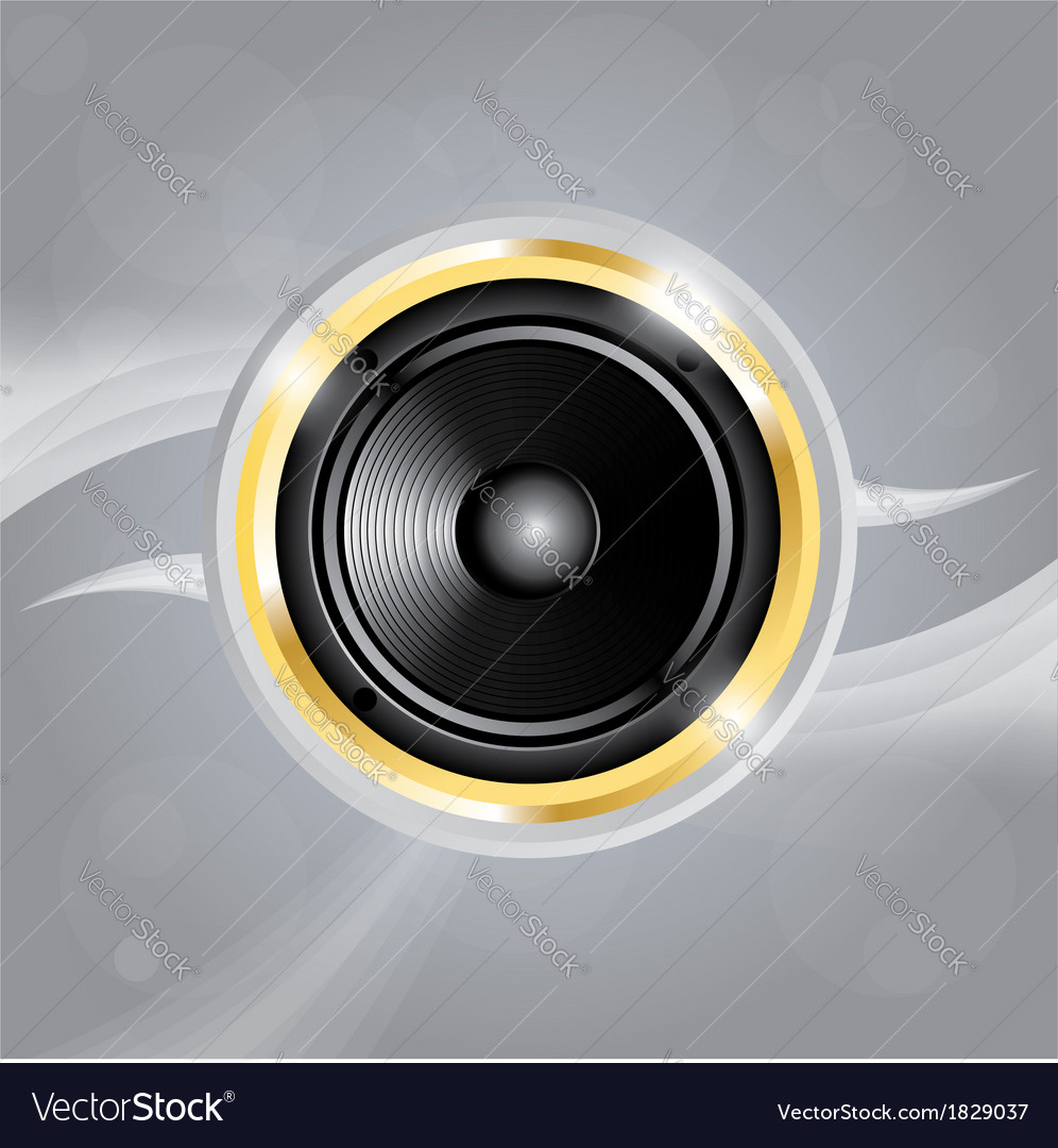 Music speaker of gold color on grey background vector | Price: 1 Credit (USD $1)