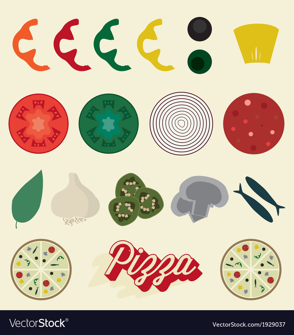 Pizza toppings collection vector | Price: 1 Credit (USD $1)