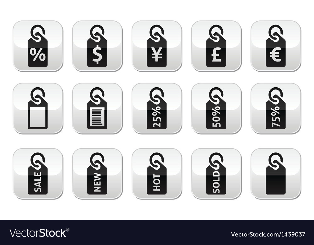 Shopping price tag sale buttons set vector | Price: 1 Credit (USD $1)