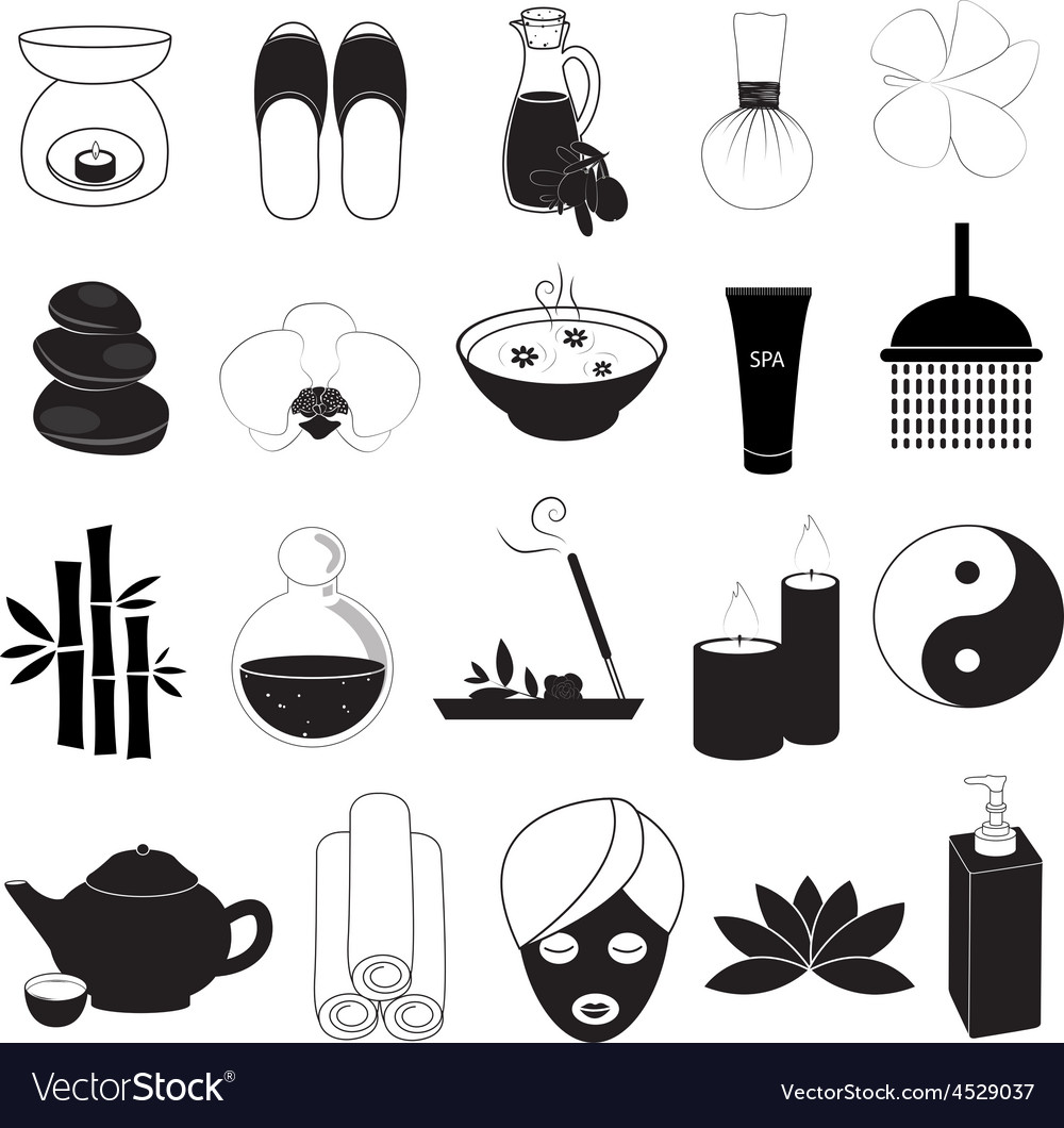 Spa and aroma icons set vector | Price: 1 Credit (USD $1)