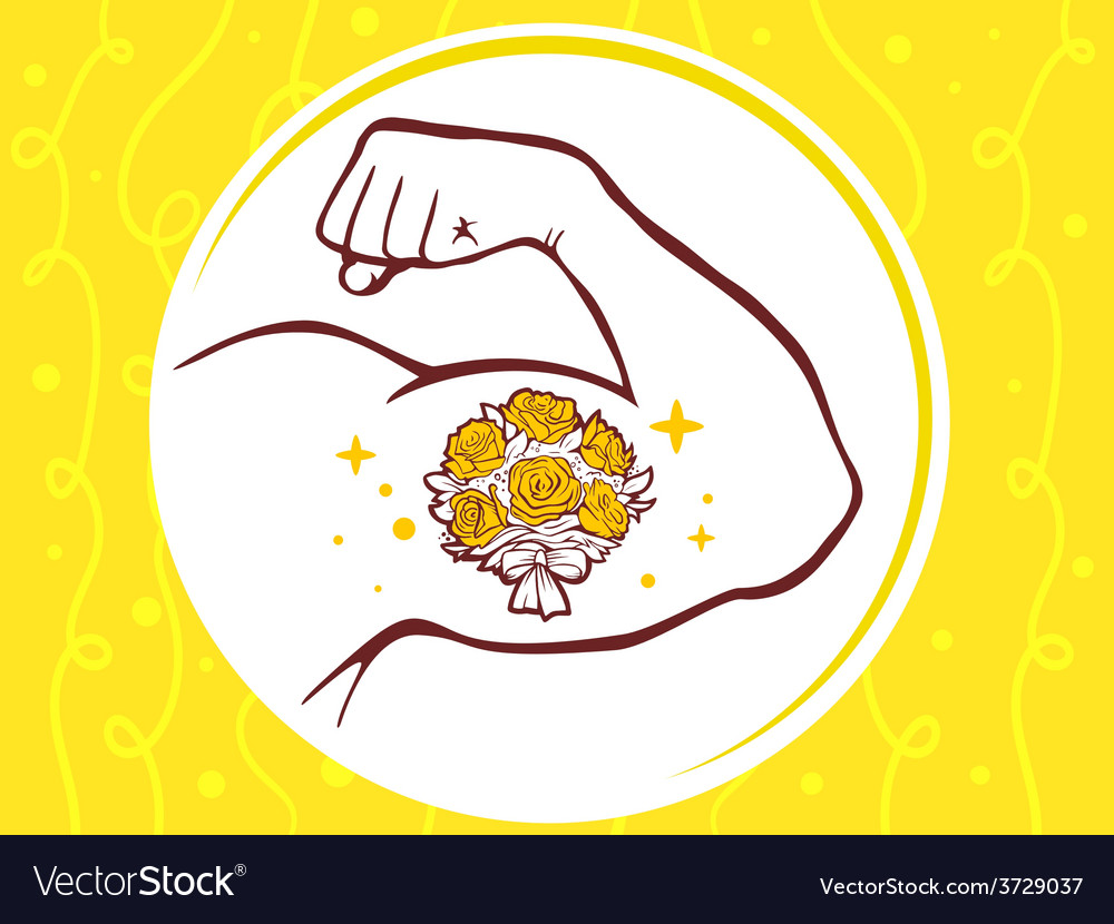 Strong man hand with icon of bouquet of vector | Price: 1 Credit (USD $1)