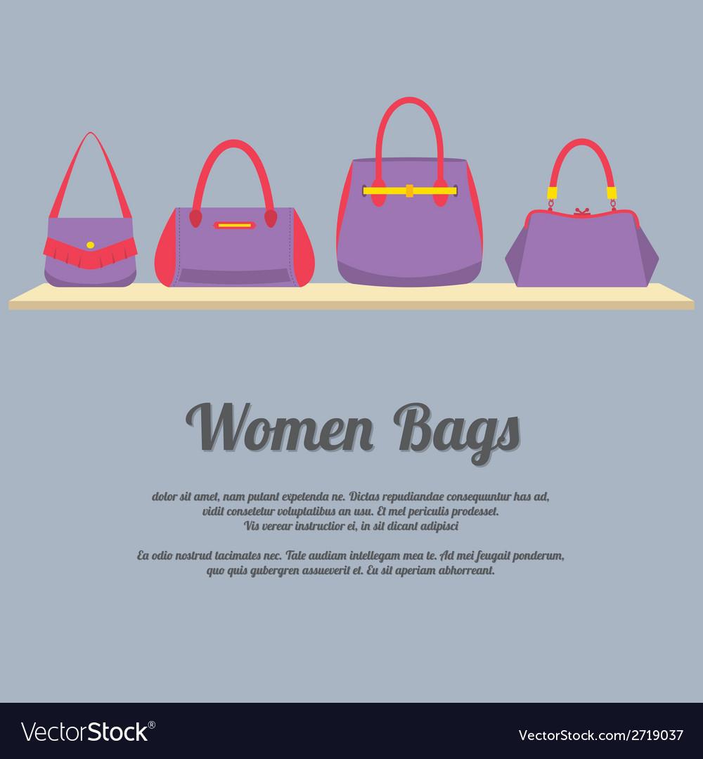 Women handbags display on shelf vector | Price: 1 Credit (USD $1)