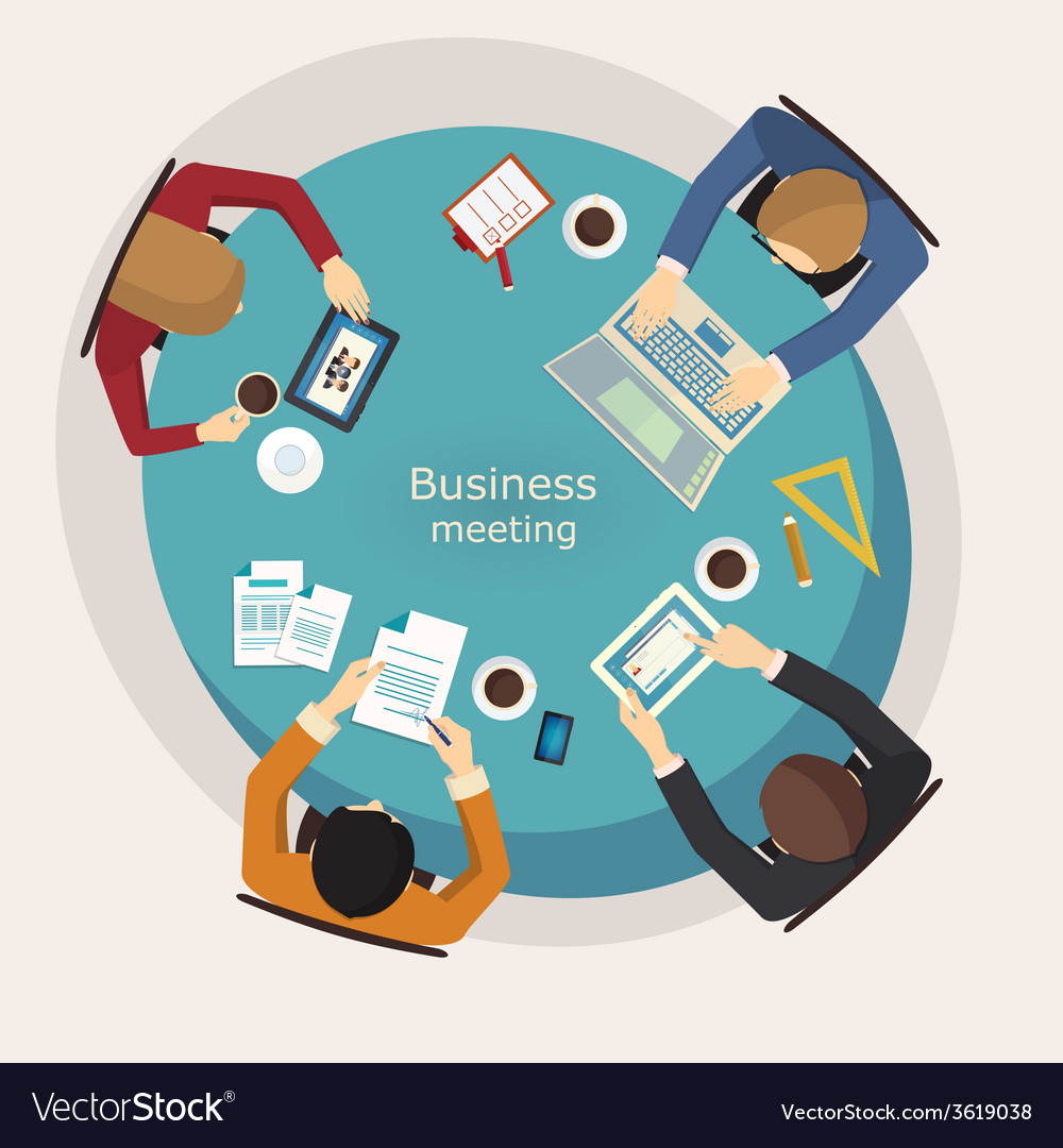 Business meeting and brainstorming flat design vector | Price: 1 Credit (USD $1)