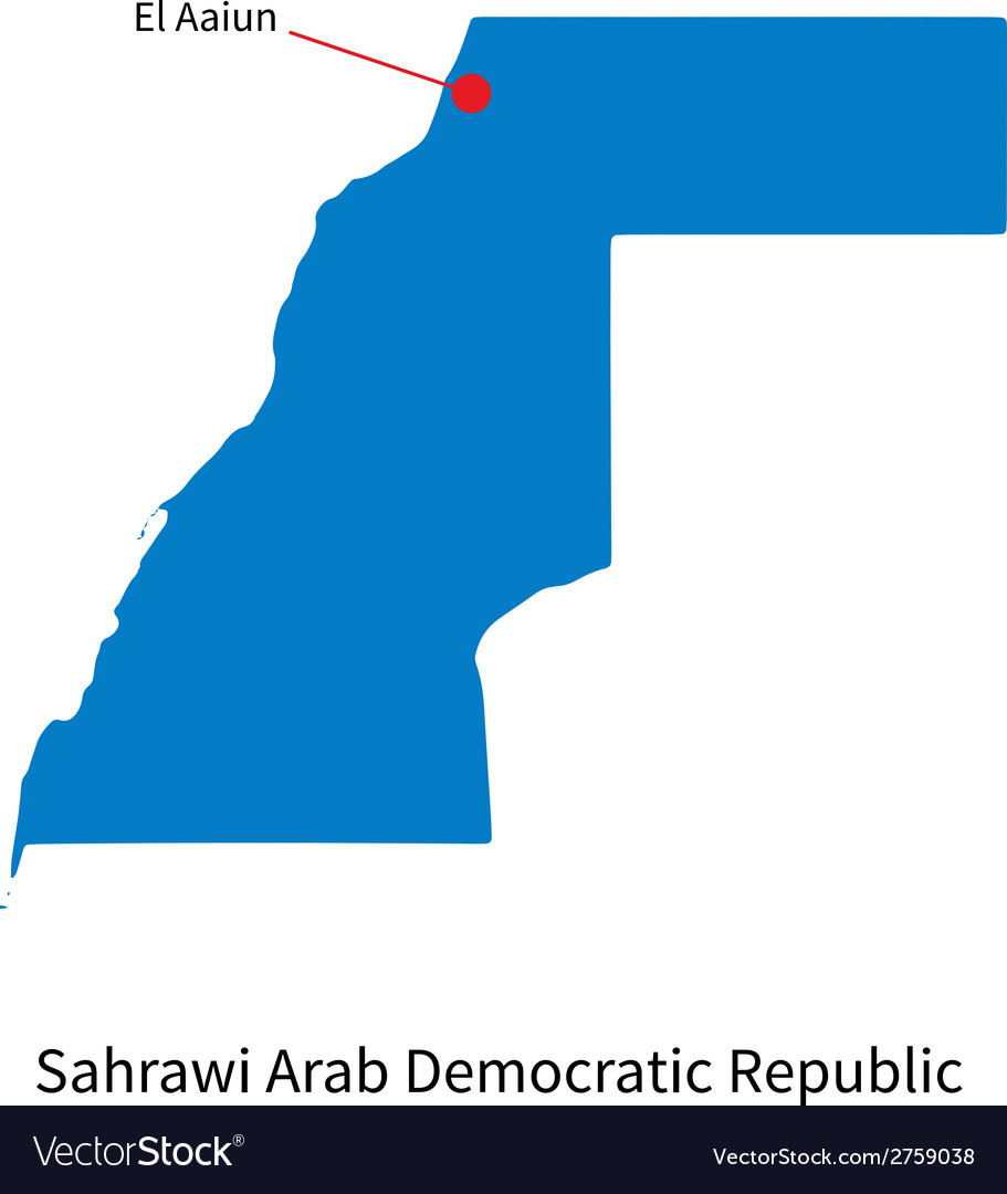 Detailed map of sahrawi arab democratic republic vector | Price: 1 Credit (USD $1)