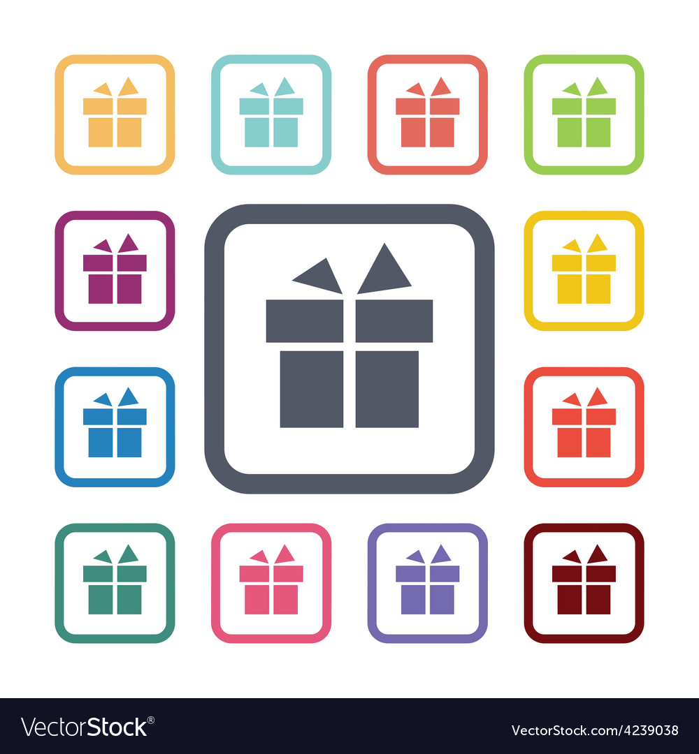 Gift flat icons set vector | Price: 1 Credit (USD $1)