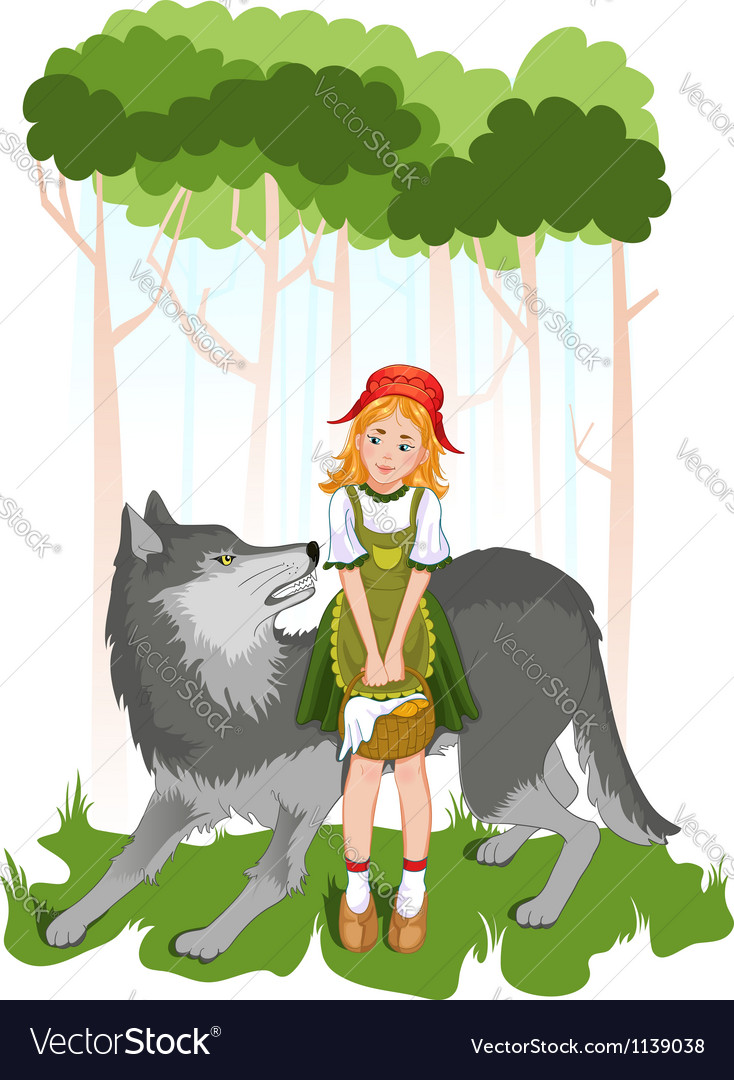 Little red riding hood with wolf vector | Price: 1 Credit (USD $1)
