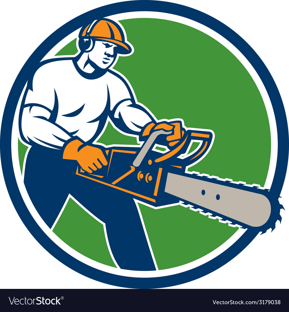 Lumberjack tree surgeon arborist chainsaw circle vector | Price: 1 Credit (USD $1)
