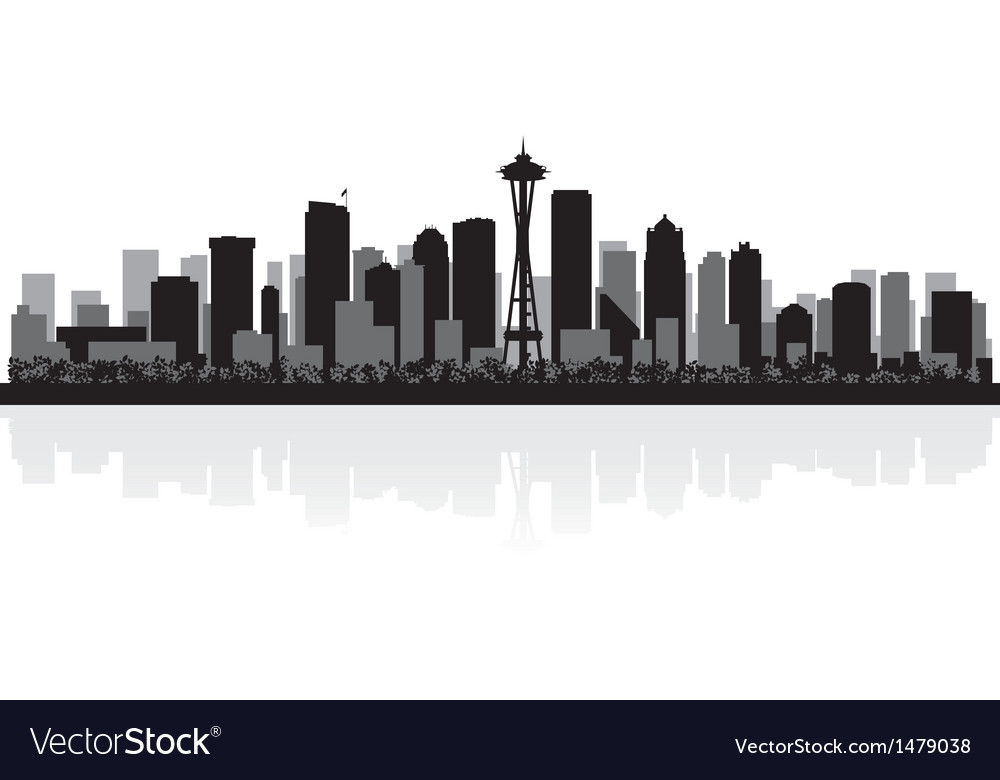 Seattle usa city skyline silhouette vector