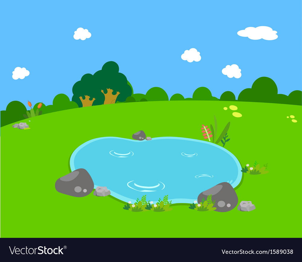Spring with pond lanscape vector | Price: 1 Credit (USD $1)