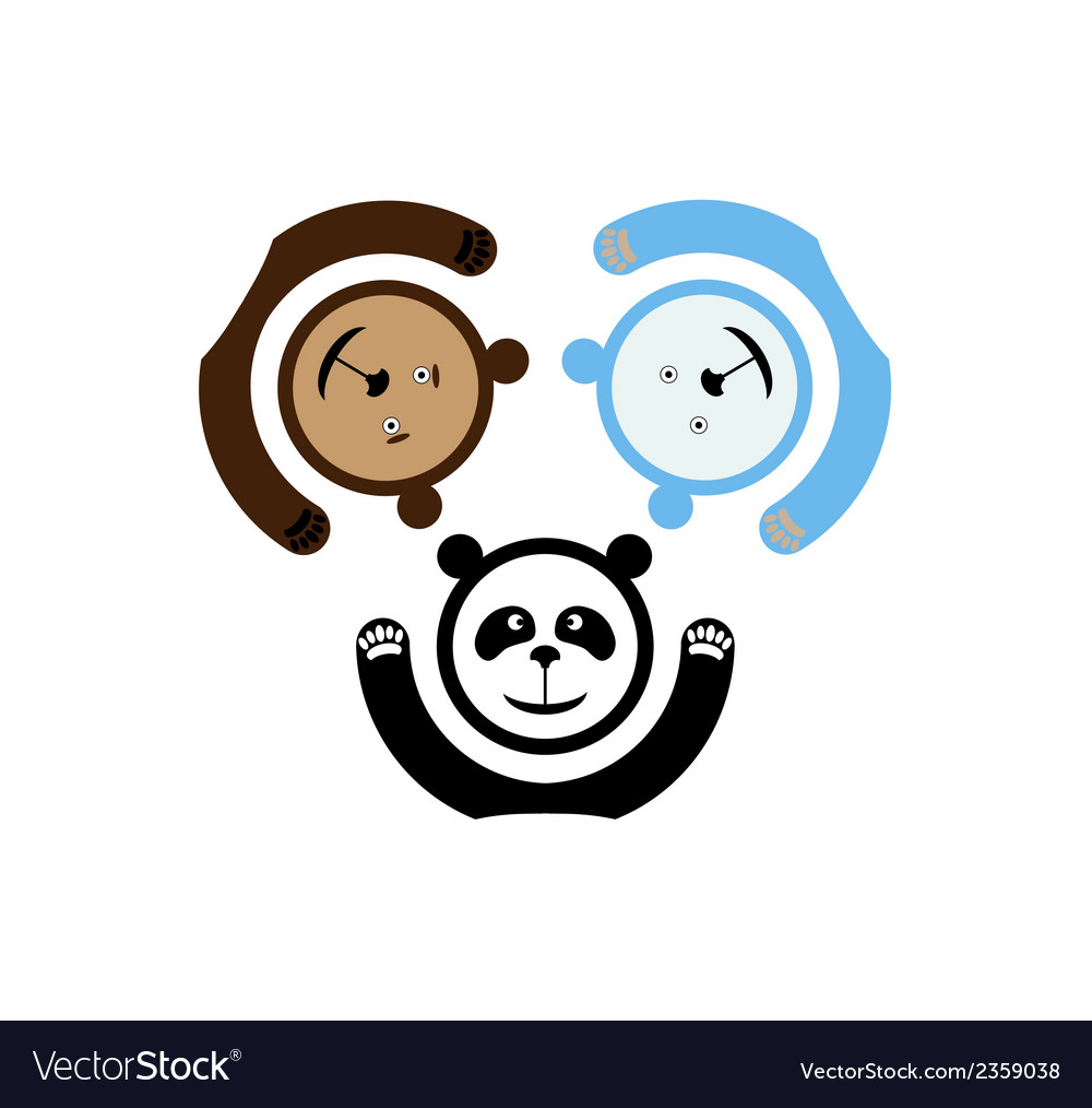 Three bears emblem vector | Price: 1 Credit (USD $1)