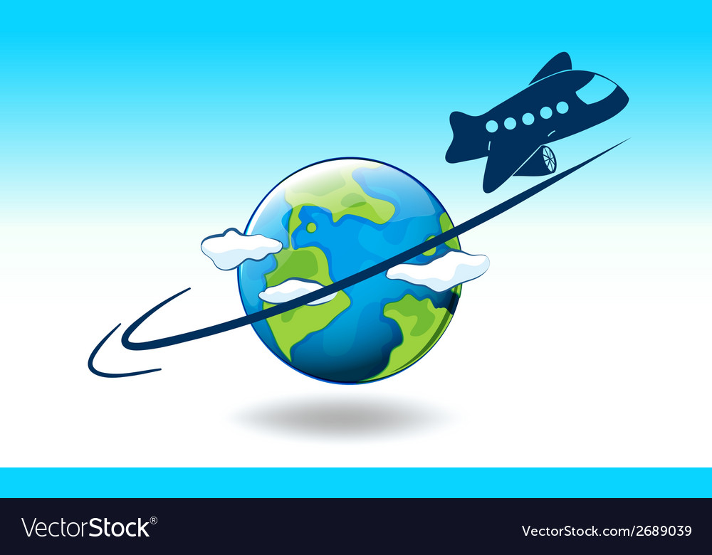 A globe and a plane vector | Price: 1 Credit (USD $1)