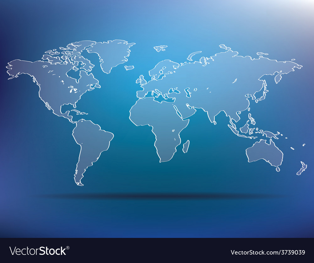 Blue world map vector | Price: 1 Credit (USD $1)