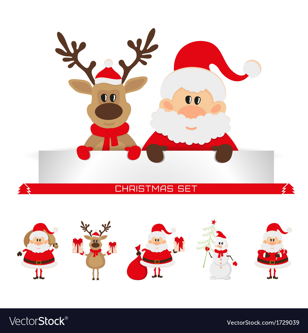 Christmas set santa claus reindeer snowman vector | Price: 1 Credit (USD $1)