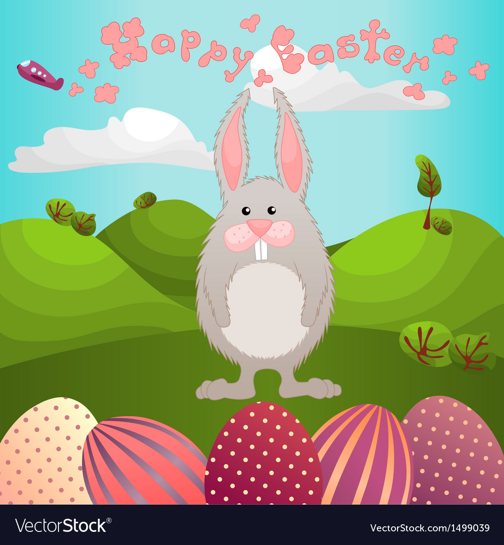 Easter greeting with fluffy rabbit vector | Price: 1 Credit (USD $1)