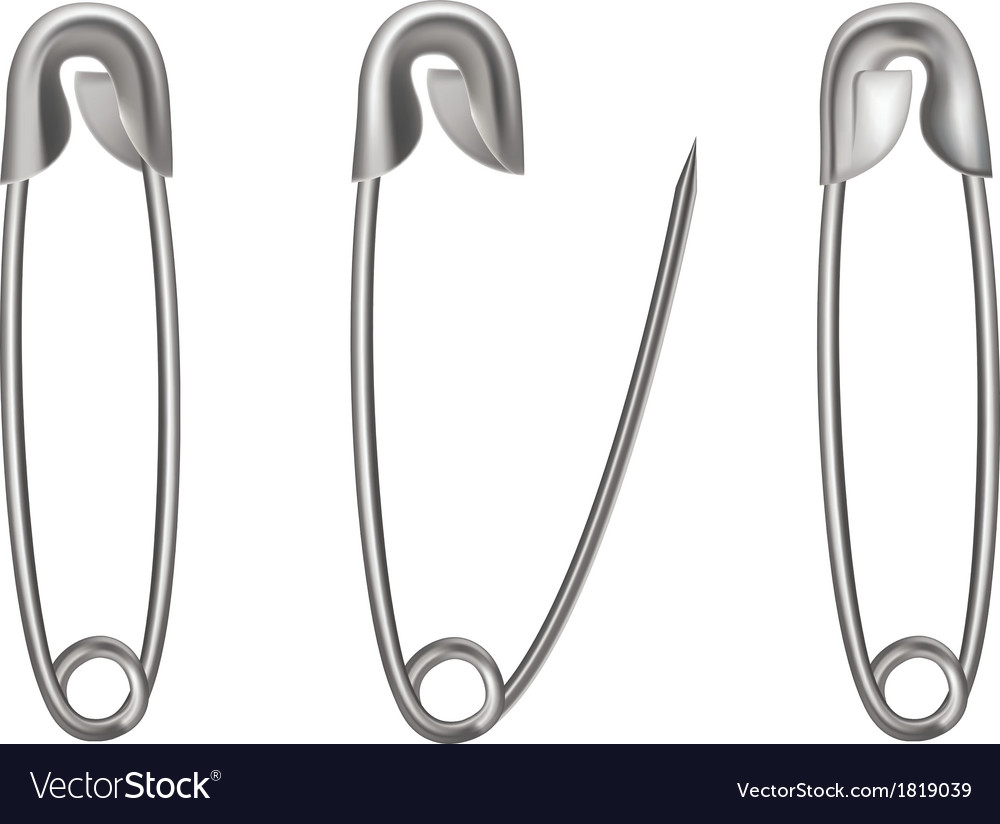 Opened and closed metal safety pin isolated on whi vector | Price: 1 Credit (USD $1)