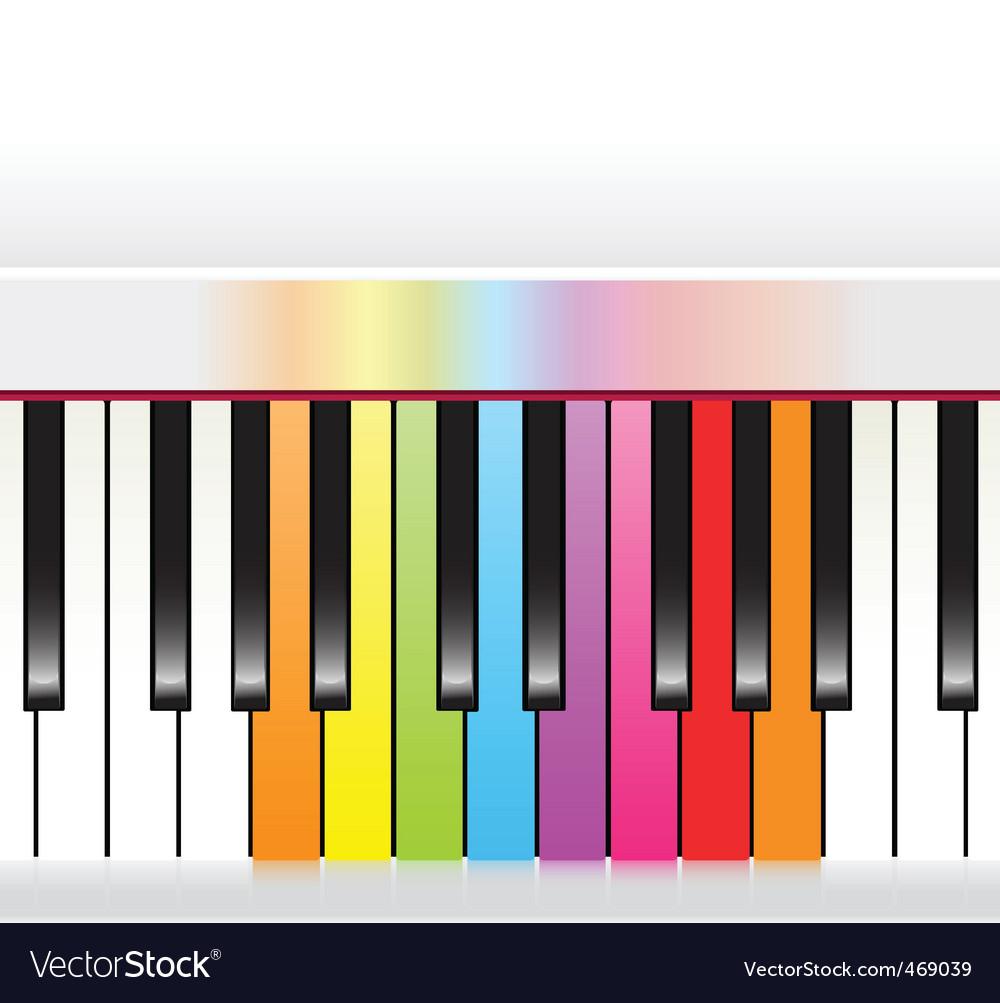 Piano with rainbow vector