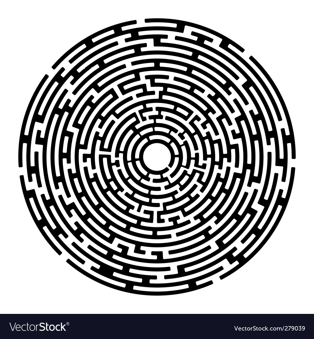 Round maze izolated on white vector | Price: 1 Credit (USD $1)