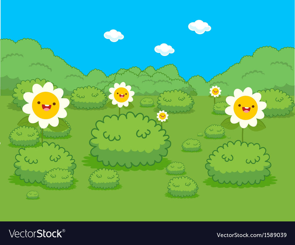 Spring with flower lanscape vector | Price: 1 Credit (USD $1)