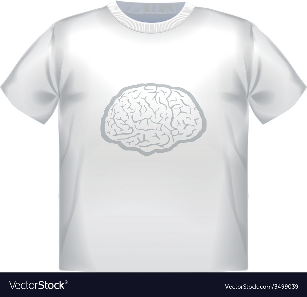 T-shirt mock up with geometric brain image vector | Price: 1 Credit (USD $1)