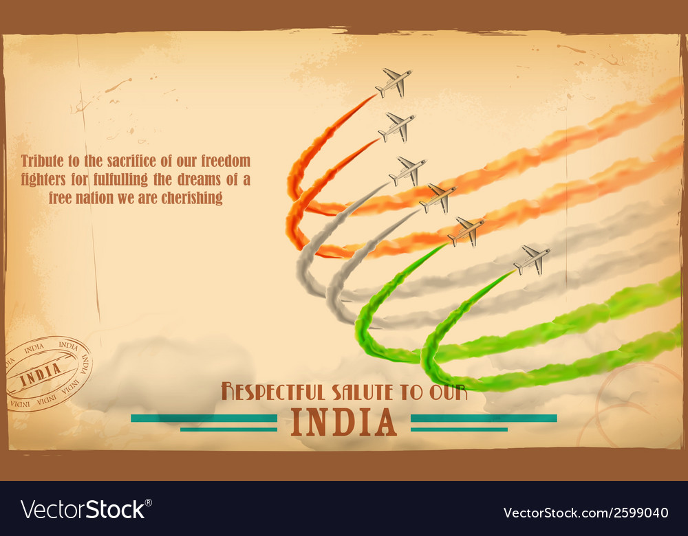 Airplane making indian tricolor flag in sky vector | Price: 1 Credit (USD $1)