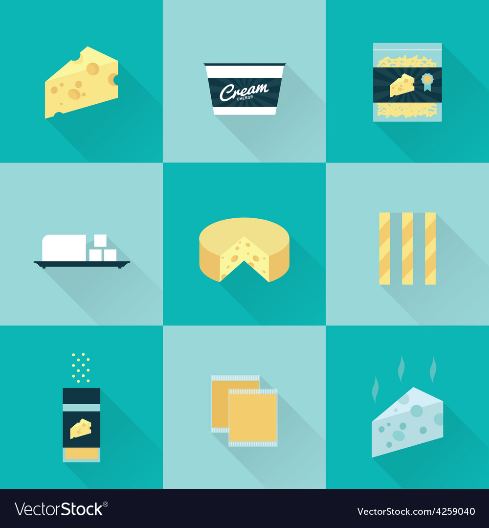 All cheese types icon set vector | Price: 1 Credit (USD $1)