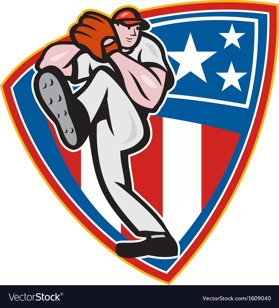 American baseball pitcher shield vector | Price: 1 Credit (USD $1)