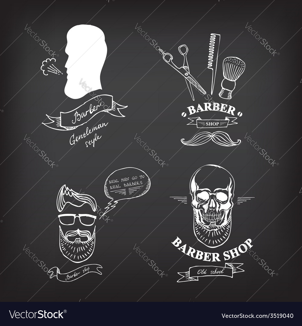 Barber shop labels icons vector | Price: 1 Credit (USD $1)