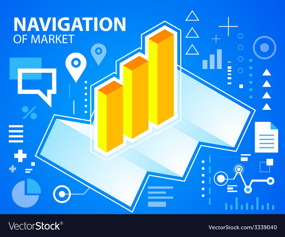 Bright navigate map and bar chart on blue ba vector | Price: 3 Credit (USD $3)