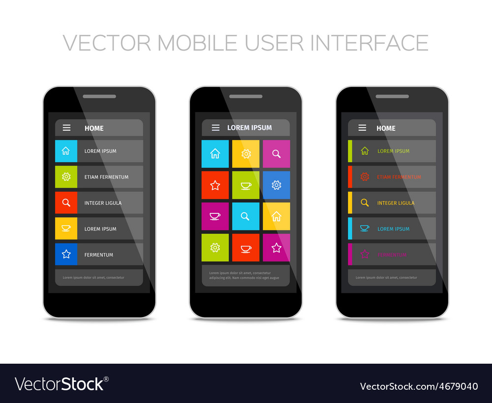 Colorful mobile user interface design vector | Price: 1 Credit (USD $1)
