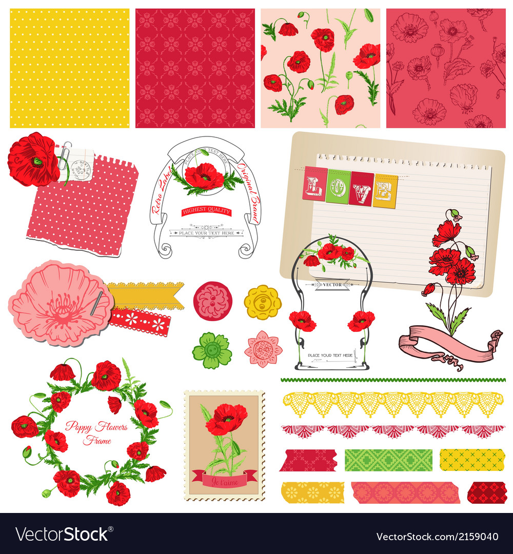 Design elements - poppy flowers theme vector | Price: 1 Credit (USD $1)