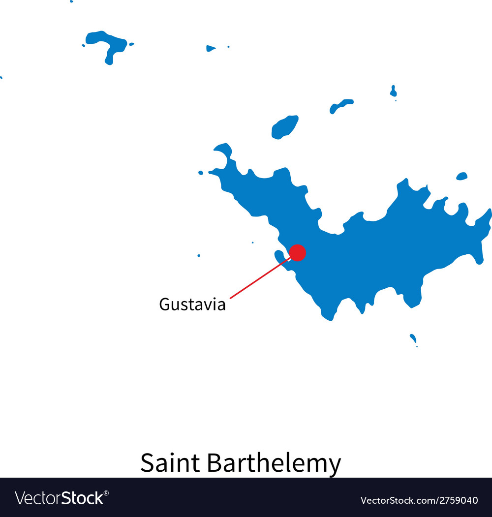 Detailed map of saint barthelemy and capital city vector | Price: 1 Credit (USD $1)