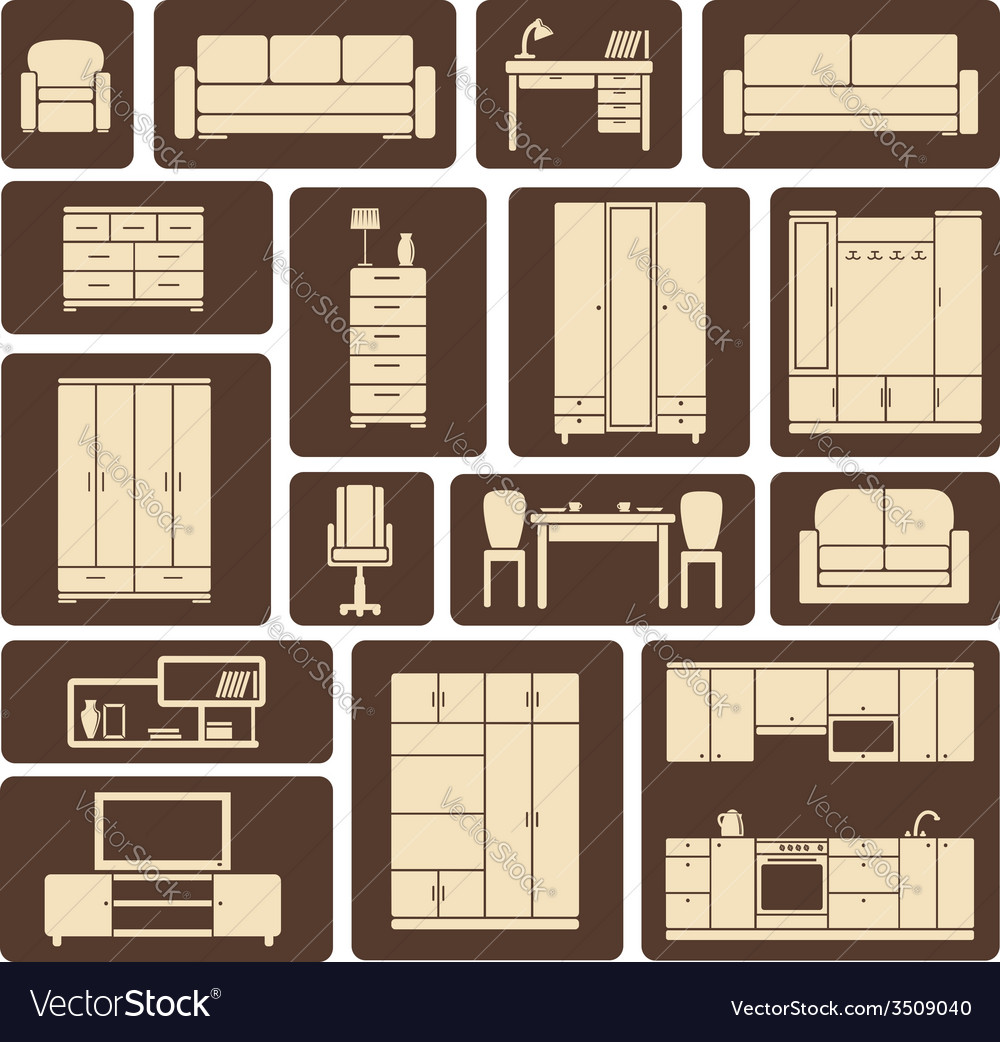Furniture flat design icons set vector | Price: 1 Credit (USD $1)