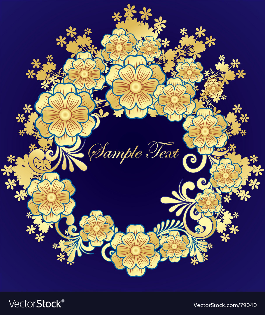 Golden flower frame vector | Price: 1 Credit (USD $1)