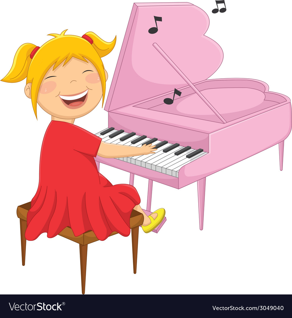 Of a little girl playing piano vector | Price: 1 Credit (USD $1)