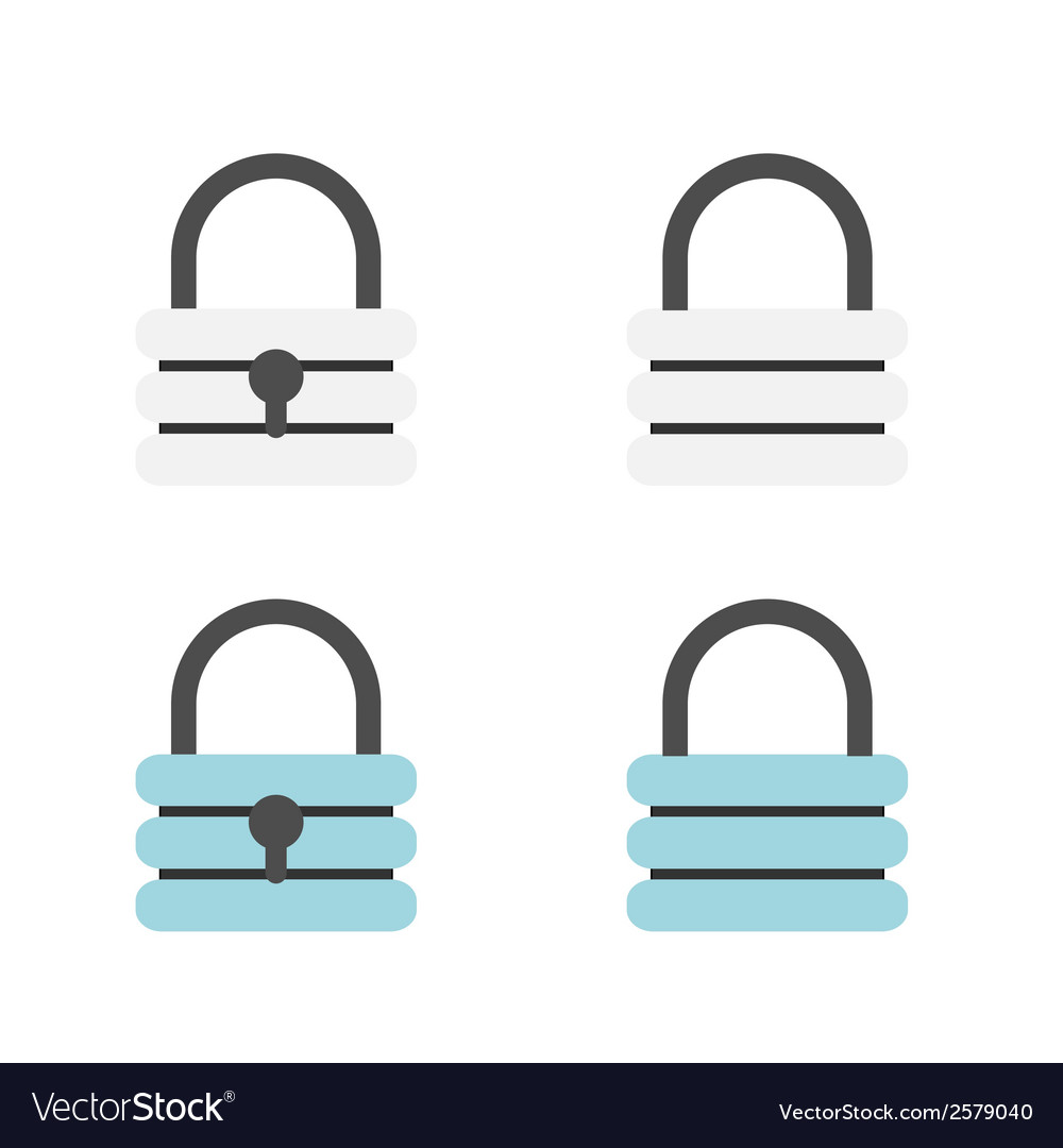 Padlock flat icons vector | Price: 1 Credit (USD $1)