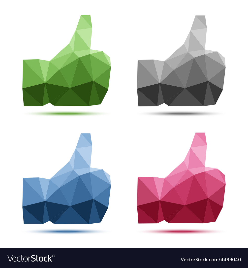 Set of geometric polygonal thumb up icons vector