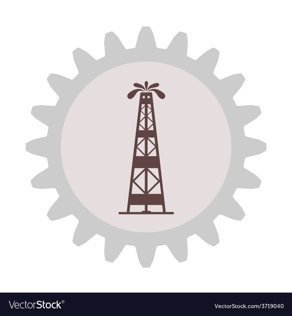 Silhouette of oil fountain in gear vector | Price: 1 Credit (USD $1)