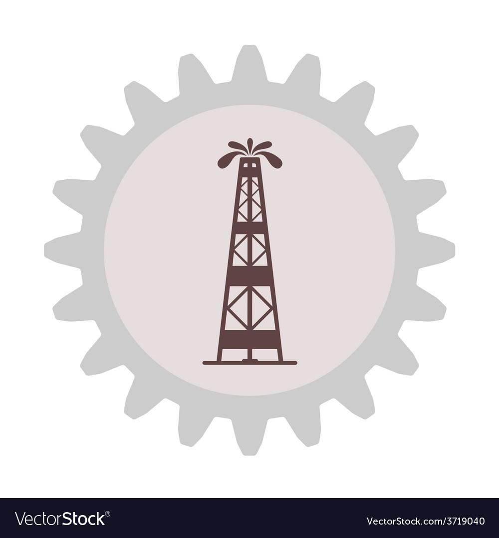 Silhouette of oil fountain in gear vector | Price: 1 Credit (USD $1)