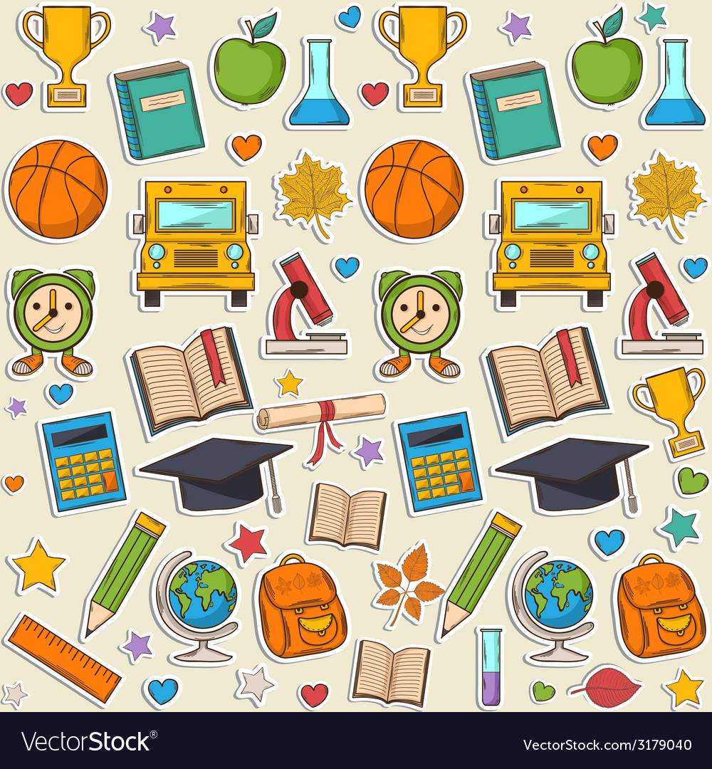 Sticker school pattern vector | Price: 1 Credit (USD $1)