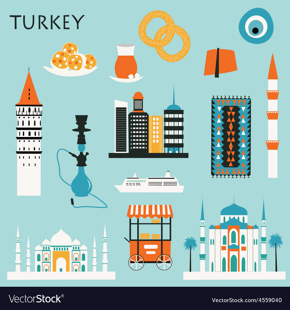 Symbols of turkey vector | Price: 1 Credit (USD $1)
