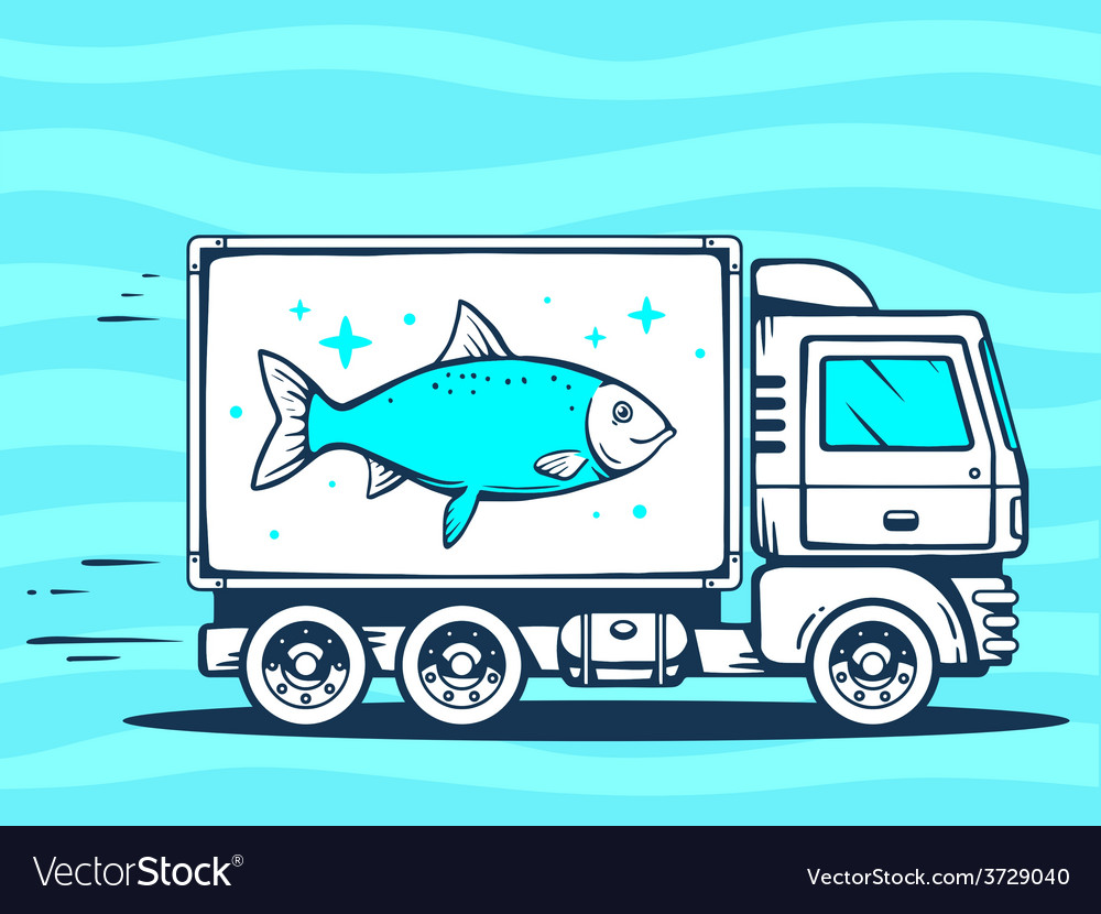 Truck free and fast delivering fish to cu vector | Price: 1 Credit (USD $1)