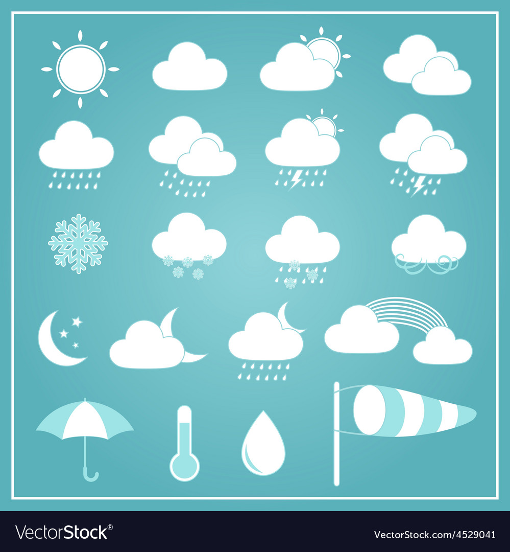 Basic weather icons on blue background vector | Price: 1 Credit (USD $1)
