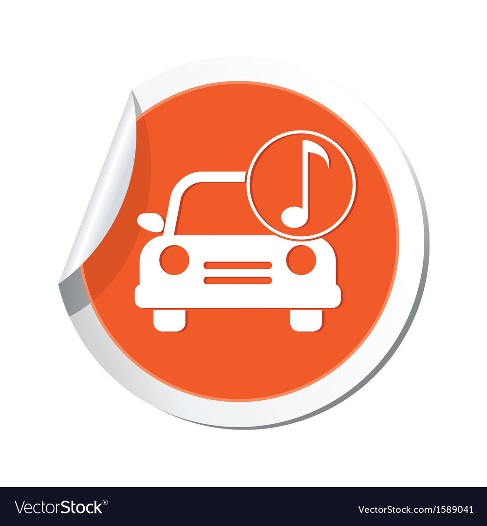 Car with music icon orange label vector | Price: 1 Credit (USD $1)