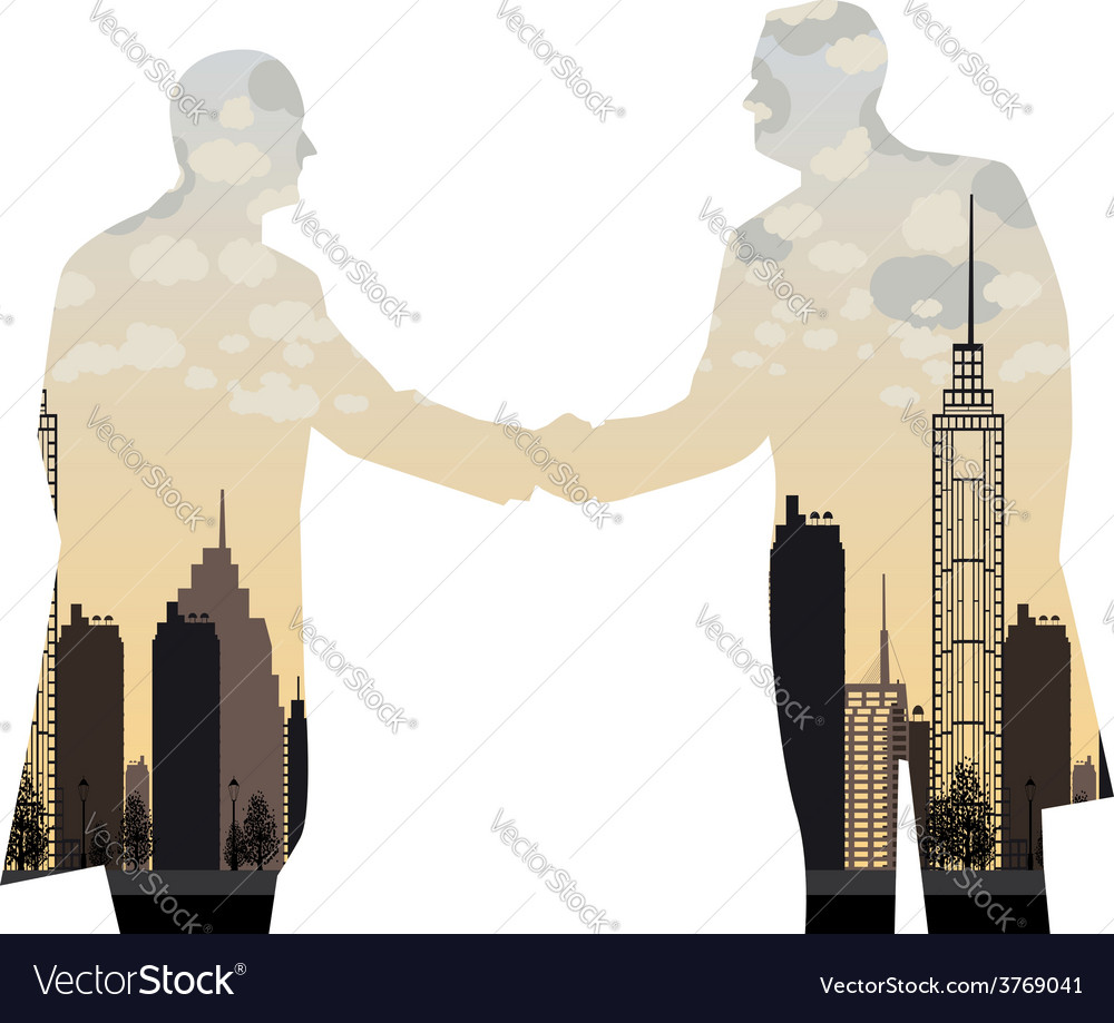 Double exposure handshake businessman on city vector | Price: 1 Credit (USD $1)