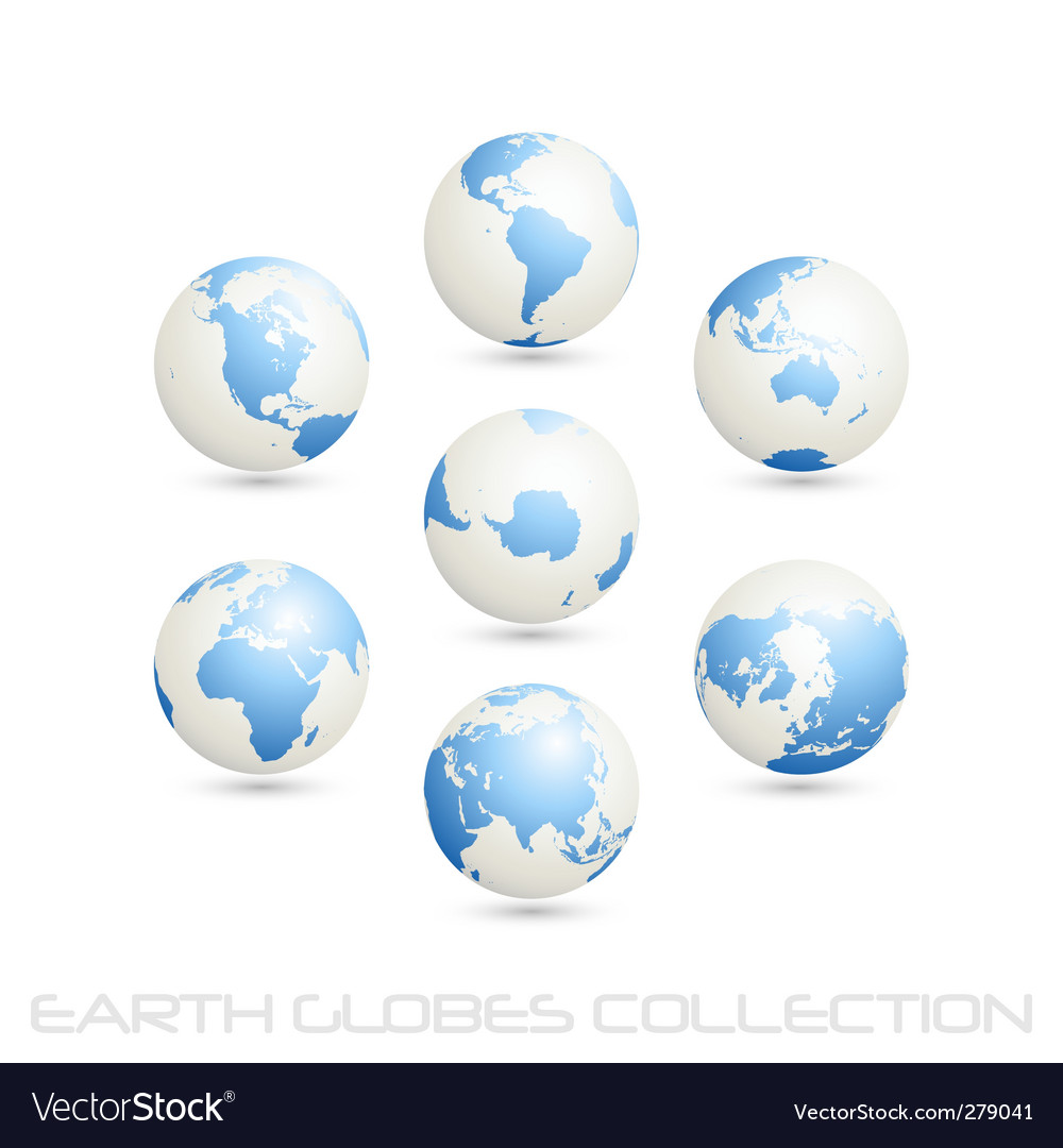 Earth globes colection white blue vector | Price: 1 Credit (USD $1)