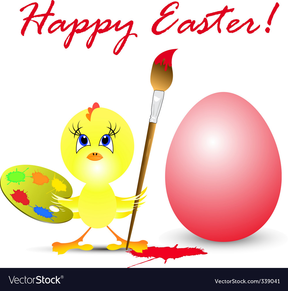 Easter holiday illustration with chicken vector | Price: 1 Credit (USD $1)