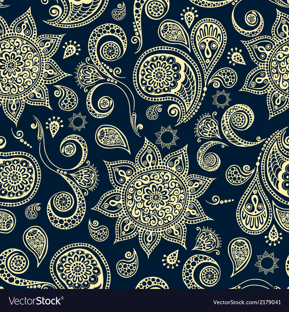 Ethnic pattern with mandala cucumbers paisley vector | Price: 1 Credit (USD $1)