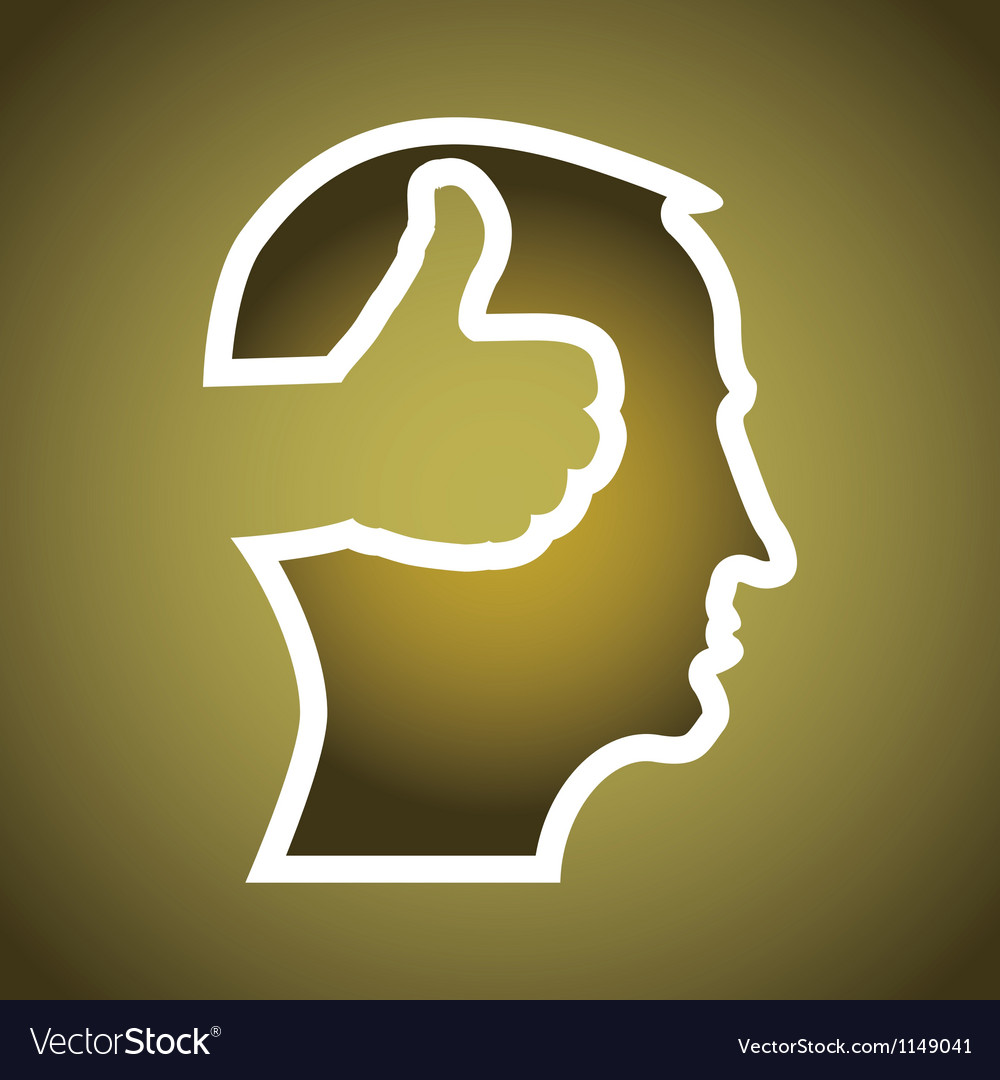 Mans head with thumbs up vector | Price: 1 Credit (USD $1)